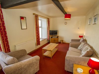 Lounge of apartment showing view over sea, Broad Haven, St. Brides Bay, Pembrokeshire