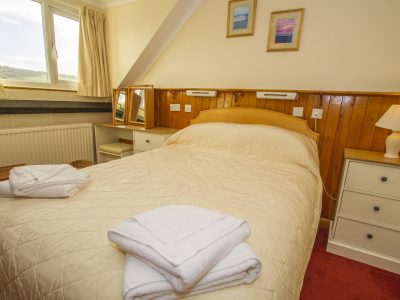 Double bedroom of apartment 5, looking up to hills above Broad Haven, Pembrokeshire