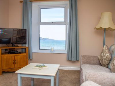 Lounge of apartment 4 showing view over sea, St. Brides Bay, Pembrokeshire
